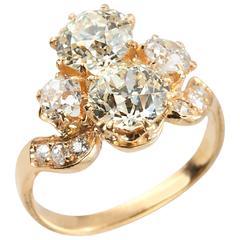 Victorian Diamond Gold Toi Et Moi Ring