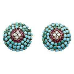 Mid-Century French Ruby Turquoise Diamond 18k Gold Dome Earrings