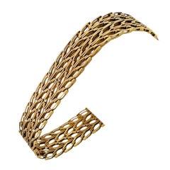 14 Karat Yellow Gold Solid Vintage Wide Fancy Link Bracelet