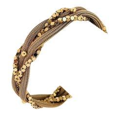 14 Karat Yellow Gold Ladies Vintage Braided Mesh Fancy Link Bracelet