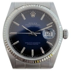 Mens Rolex Oyster Datejust 16014 18k SS Automatic Blue Dial 1980s RJC127