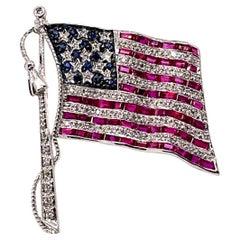 Ruby, Sapphire, & Diamond American Flag Brooch 18k White Gold