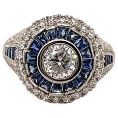 Art Deco Style 1ct Round Diamond with Sapphire & Diamonds Ring 18k White Gold