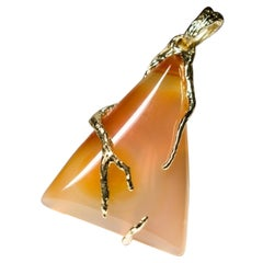 Carnelian Gold Necklace Honey Orange Triangle Cabochon Magic Forest Roots Gems