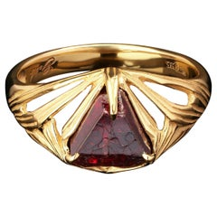 Red Spinel Jedi Gold Ring Raw Uncut Crystal Mens Jewelry Healing Fantasy Style