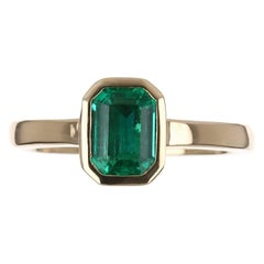 1.0cts 14K Colombian Emerald-Emerald Cut Solitaire Ring