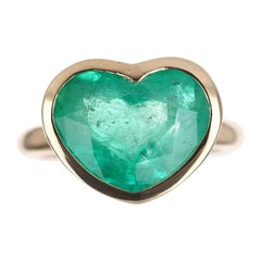 6.10ct 14K Colombian Emerald Heart Cut Solitaire Ring