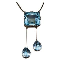 Antique Russian Aquamarine Gold Negligee Necklace
