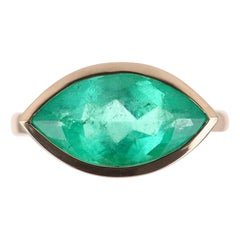 3.83ct 14K Colombian Emerald Marquise Cut Solitaire Ring