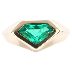 1.61ct 18K Colombian Emerald Superman/Kite Cut Solitaire Ring