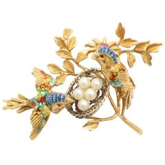 Gold Pearl and Enamel Birds and Nest Brooch