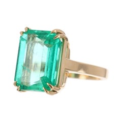 10.85cts 18K Colombian Emerald-Emerald Cut Solitaire Ring