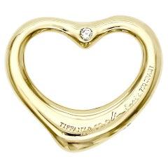 Tiffany & Co. 18K Gold Elsa Peretti Open Heart Both Side Diamond Pendant