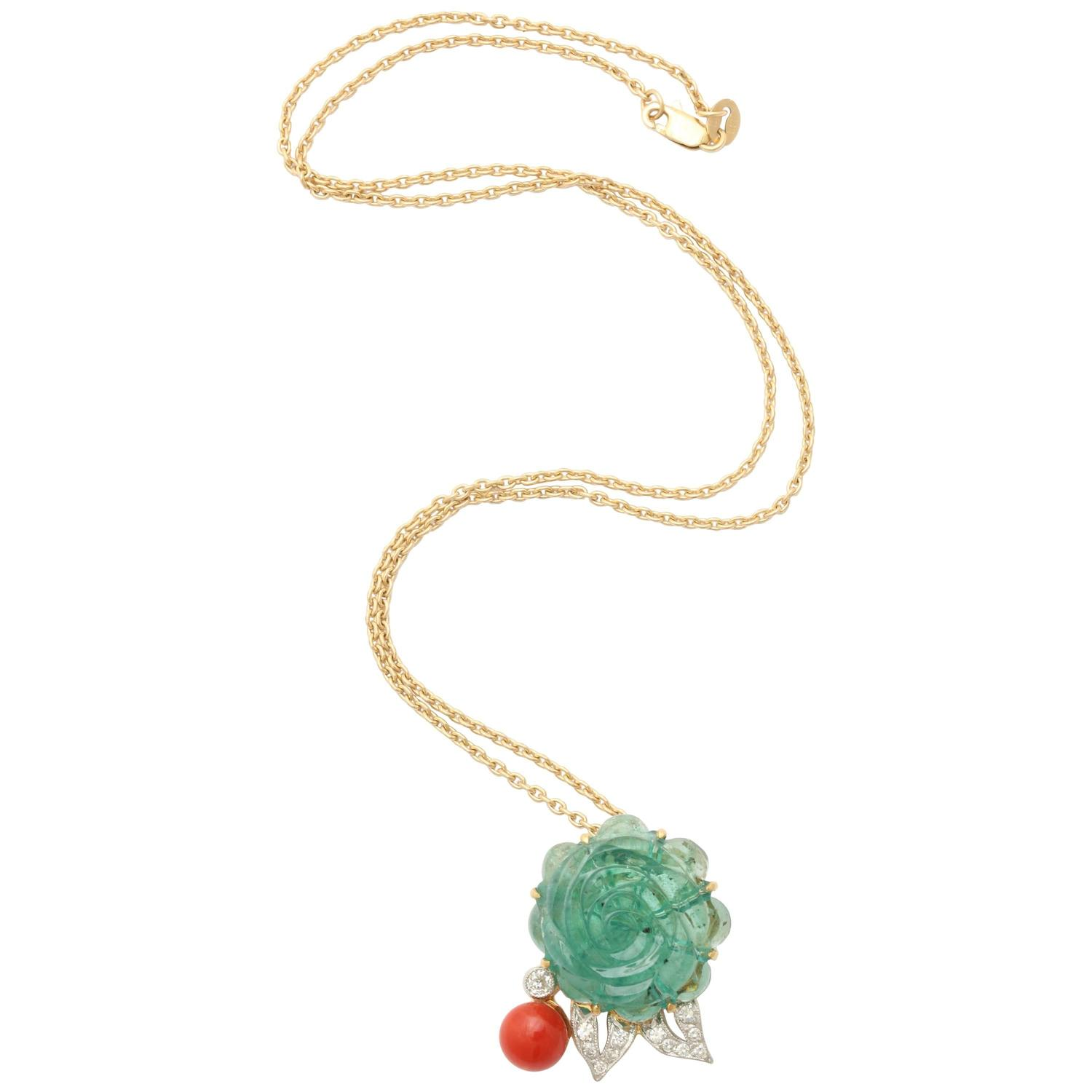 Carved Emerald Rose with Coral Pendant Necklace For Sale at 1stdibs