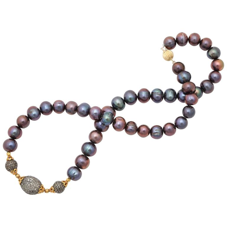Black Pearl Diamond Gold Bead Necklace