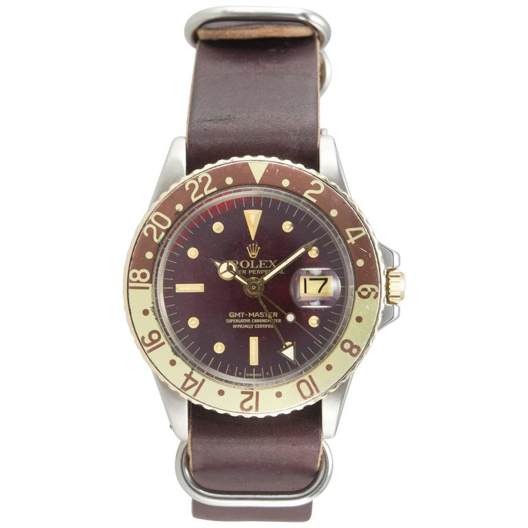 Rolex Yellow Gold Stainless Steel GMT 2-Tone Brown Dial Wristwatch Ref 1675 For Sale