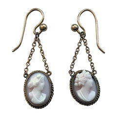 9ct Gold Victorian Pink Cameo Chain Earrings