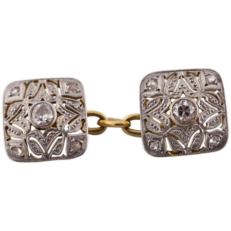 Art Deco Diamond White and Yellow Gold Cufflinks