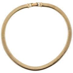 Omega Style 14k  Gold Choker Necklace