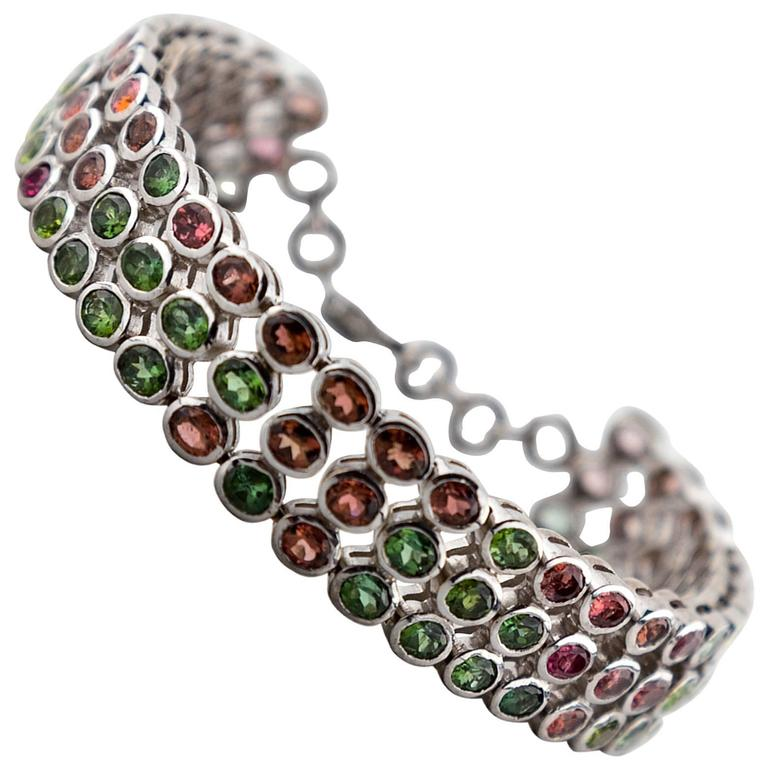Multicolored Tourmaline Sterling Silver Chain Link Bracelet