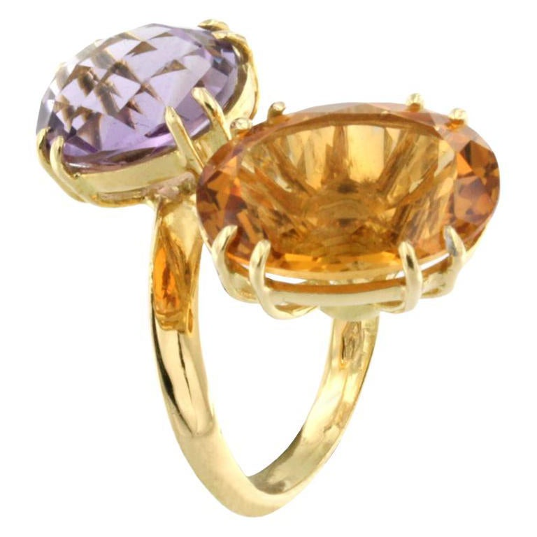 18k Yellow Gold with Amethyst and Citrine Ring
