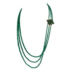 Three Strand Emerald Necklace Graduated Natural Mined Emeralds