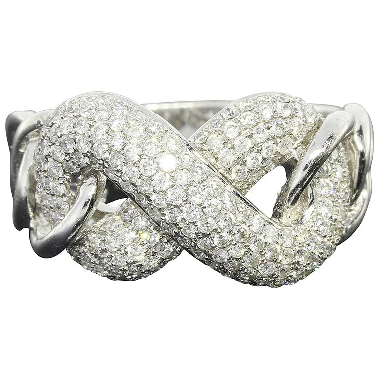 Pave Diamond Gold Infinity Love Knot Ring