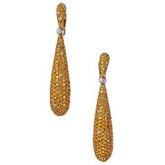 de GRISOGONO Gocce 25 Carat Yellow Sapphire Diamond Yellow Gold Drop Earrings