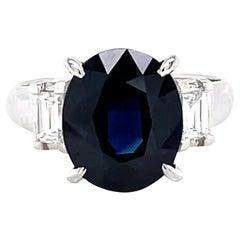 Contemporary 3.90 Carat Oval Cut Sapphire Diamond Platinum Three Stone Ring