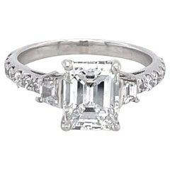 Vintage GIA 1.51 Carat Emerald Cut Diamond Platinum Three Stone Engagement Ring