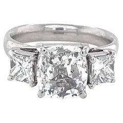 Vintage GIA 1.53 Carat Antique Cushion Cut Diamond Three Stone Engagement Ring