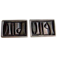 Sammy P. Gee Sterling Silver Modernist Cufflinks