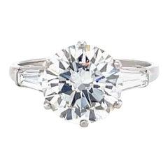 Vintage Bvlgari GIA 3.13 Carat Round Brilliant Diamond Platinum Engagement Ring