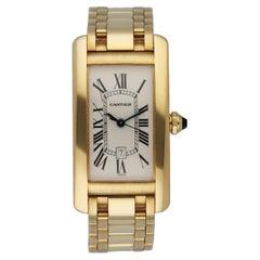 Cartier Tank Americaine W26035K2 /1725 18K Yellow Gold Men's Watch