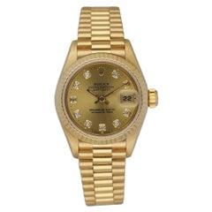 Rolex Datejust 69178 18K Yellow Gold Diamond Dial Ladies Watch