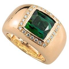 18 Karat Rose Gold 5 Karat Tourmaline 0.28 Karat White Diamond Cocktail Ring