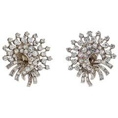 Van Cleef & Arpels Platinum 1940's Diamond Fan Vintage Earrings
