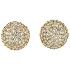 18K Yellow Gold Round Diamond 6.00cts Cluster Clip Earrings