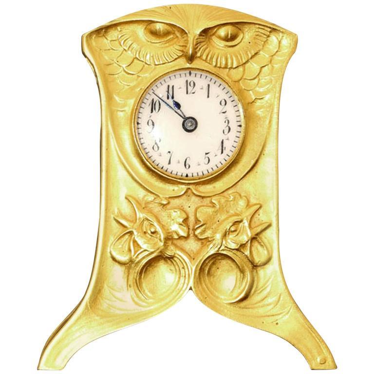 1900 Vever Beautiful Gold Art Nouveau Travel Clock  For Sale