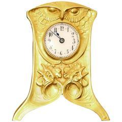 1900 Vever Beautiful Gold Art Nouveau Travel Clock