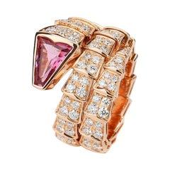 Bulgari Rose Gold Rubellite Diamond Serpenti Viper Ring