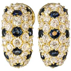 Tiffany & Co. Sapphire Diamond Gold Huggie Earrings