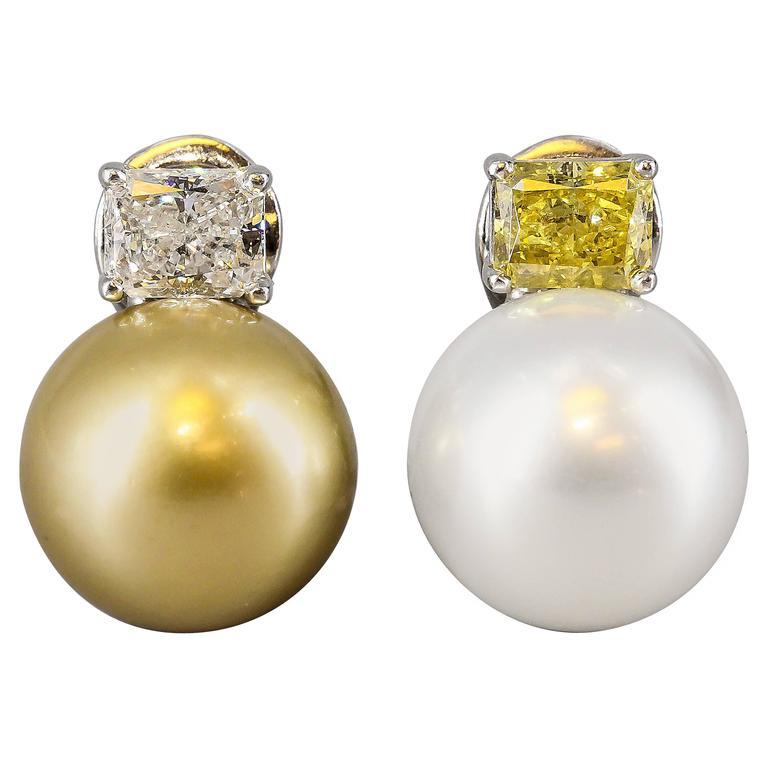 Impressive Fancy Vivid Yellow South Sea Pearl Diamond Platinum Earrings