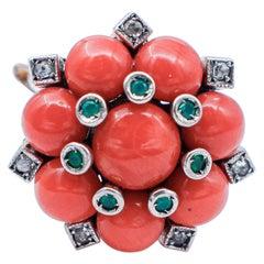 Diamonds, Green Agate, Coral, 9 Karat Rose Gold and Silver Retrò Ring