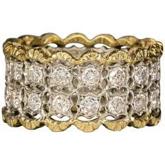 Gianmaria Buccellati Diamond Gold Platinum Band Ring