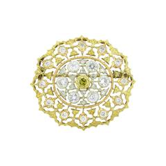 Buccellati Gorgeous Diamond Gold Brooch Pin