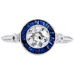 Old European Cut Diamond Sapphire Platinum Ring