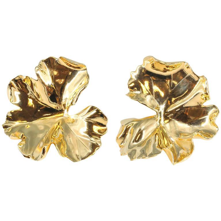 JAR Large Geranium Gold Tone Aluminum Earrings 1