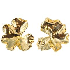 JAR Large Geranium Gold Tone Aluminum Earrings