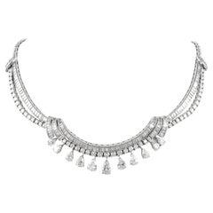 Vintage 36.50ct Pear, Round, & Baguette Diamond Necklace Platinum